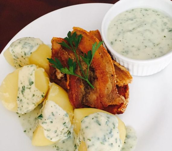 Come and try our Danish fried pork with parsley sauce